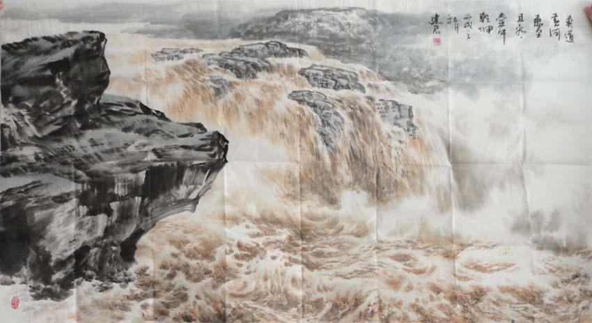 壁纸 风景 国画 旅游 瀑布 山水 桌面 850_464